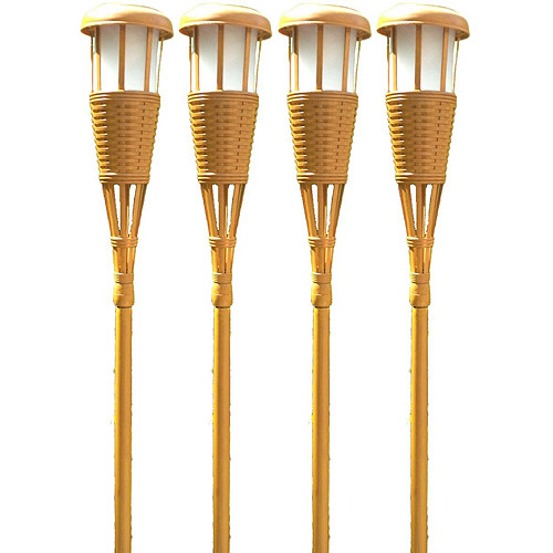 Newhouse Lighting Solar Flickering LED Island Torches, Bamboo Finish (Pack of 4)