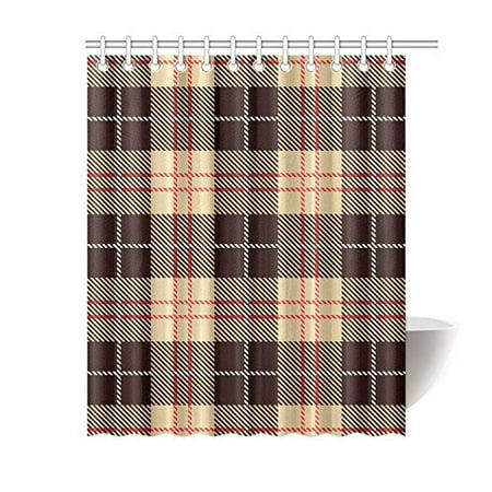 MKHERT Tartan Tiles Shower Curtain Bath Waterproof Fabric Polyester Curtains 60x72 Inch
