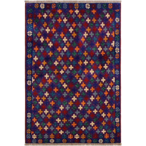 Isabelline One-of-a-Kind Laudalino  Hand-Knotted 3'3'' x 4'10'' Wool Purple/Red/Beige Area Rug