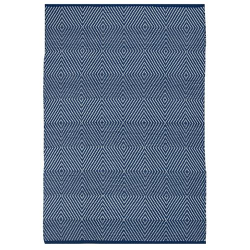 Fab Habitat Indo Hand-woven Zen Blue/ White Contemporary Geometric Area Rug (3' x 5')