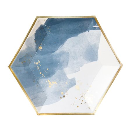 Harlow & Grey, Malibu Blue Watercolor Large Paper Plates, Hexagon, 10.5