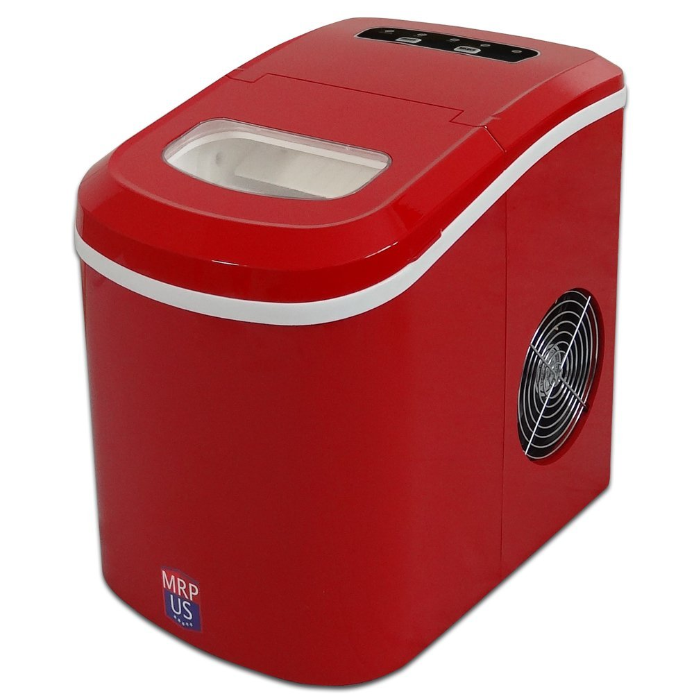 MRP US Portable Ice Maker Counter-top Ice Machine With 2 Selectable Cube Size - IC605 (Red) - New