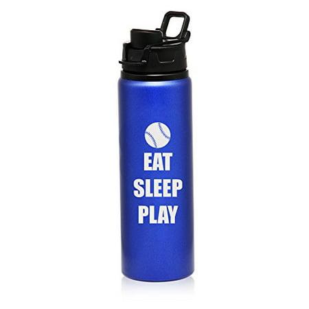 Bottle Edt - 25 oz Aluminum Sports Water Travel Bottle Eat Sleep Play Baseball Softball (Blue)