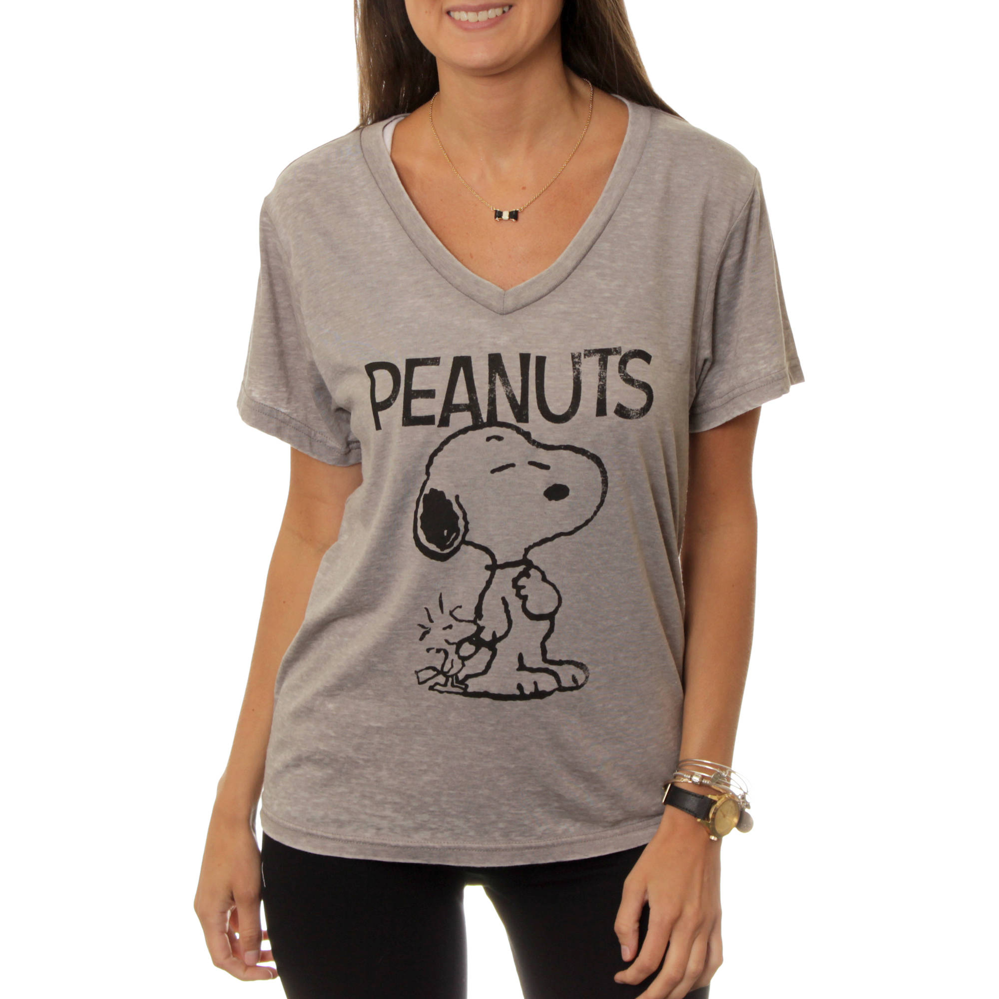 women's snoopy and woodstock v-neck graphic burnout t-shirt