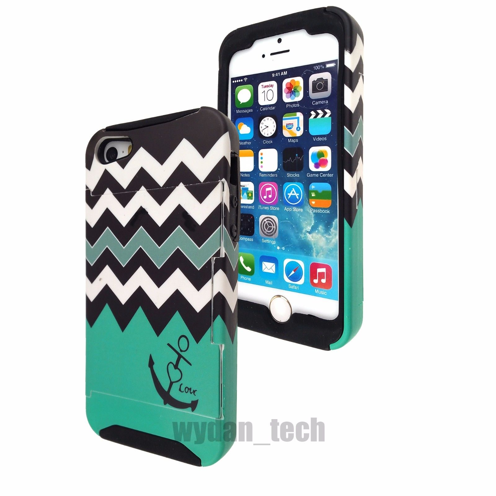 Apple iPhone 5C Case - Wydan Hybrid Credit Card Case Flip Stand Cover Teal Anchor