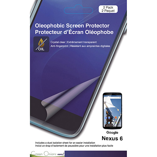 Green Onions Supply Oleophobic Screen Protector Glossy for Google Nexus 6, 2pk