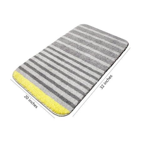 Vdomus Modern Striped Bath Rug Non Slip Microfiber