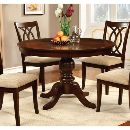Furniture of America Amersty Round Pedestal Dining Table in Cherry