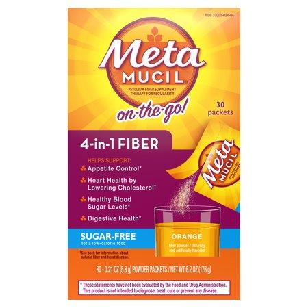 Metamucil Fiber, 4-in-1 Psyllium Fiber Supplement, Sugar-Free Powder Single-Serve Packets, Orange Flavored Drink, 30 Packets