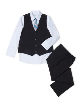 Wonder Nation Boys 4-14 & Husky Suit Set with Vest, Button-up Shirt, Tie, and Pants, 4-Piece Outfit Set