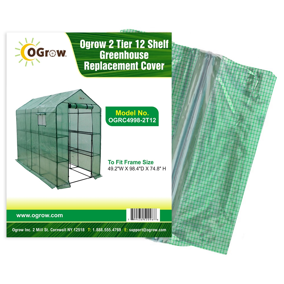 "2 Tier 12 Shelf Greenhouse PE Replacement Cover To Fit Frame Size 49.2""W X 98.4""D X 74.8""H by KSH Brands"