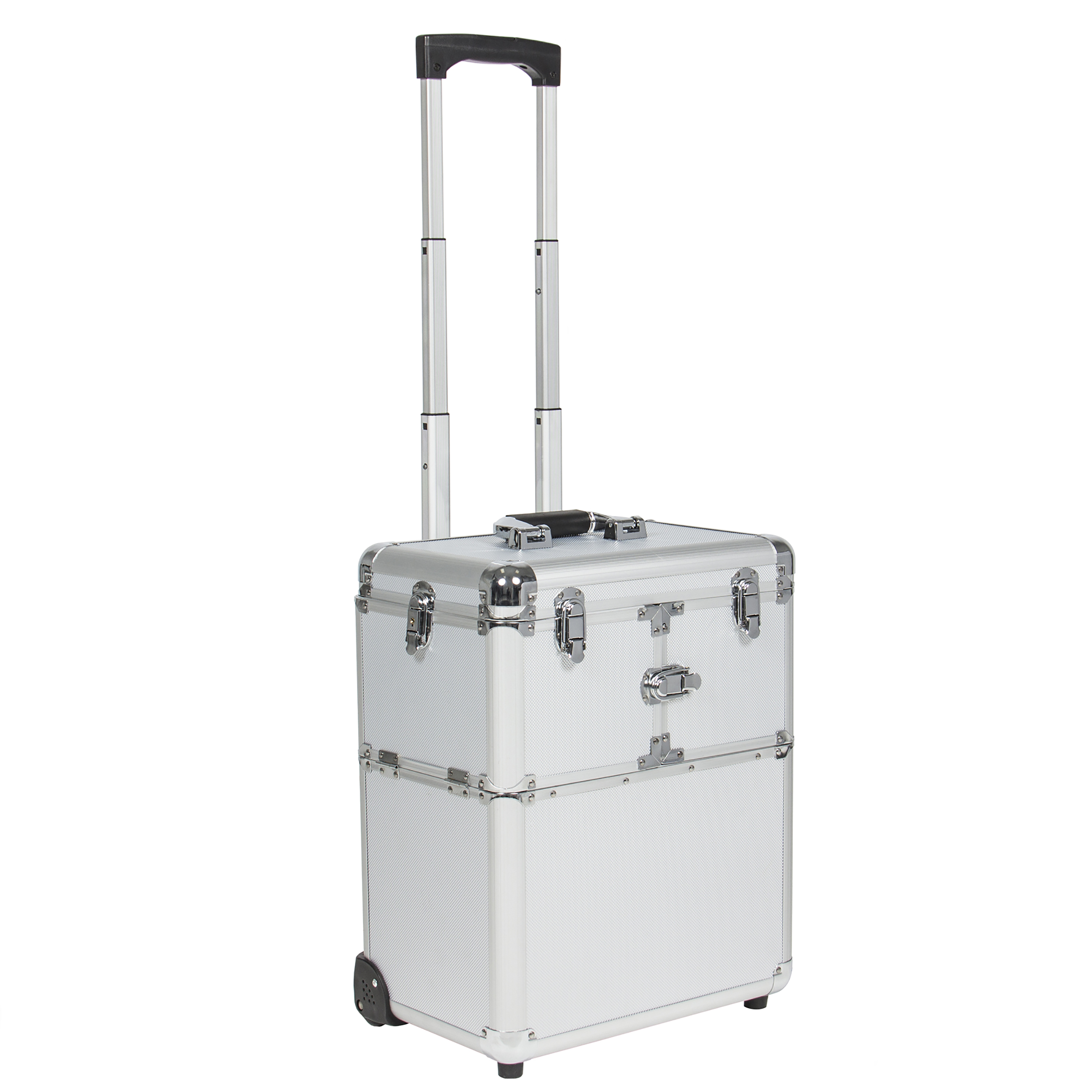 """Best Choice Products Silver 19"""" Lockable Aluminum Makeup Rolling Train Case for Cosmetic Artist"""