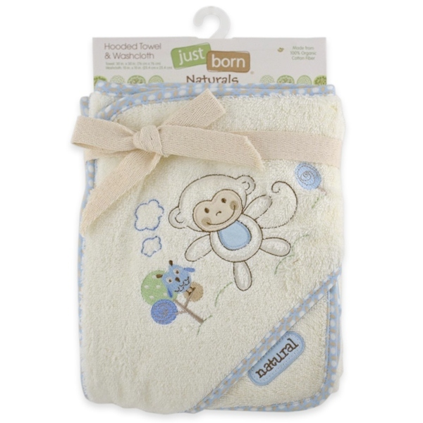 Just Born Naturals Hooded Towel and Washcloth Set Blue Monkey by Just Born