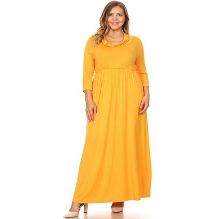- MOA COLLECTION Women's Plus Size Casual Solid Loose Fit 3/4 Sleeve Cowl Neck Pleat Long Maxi Dress