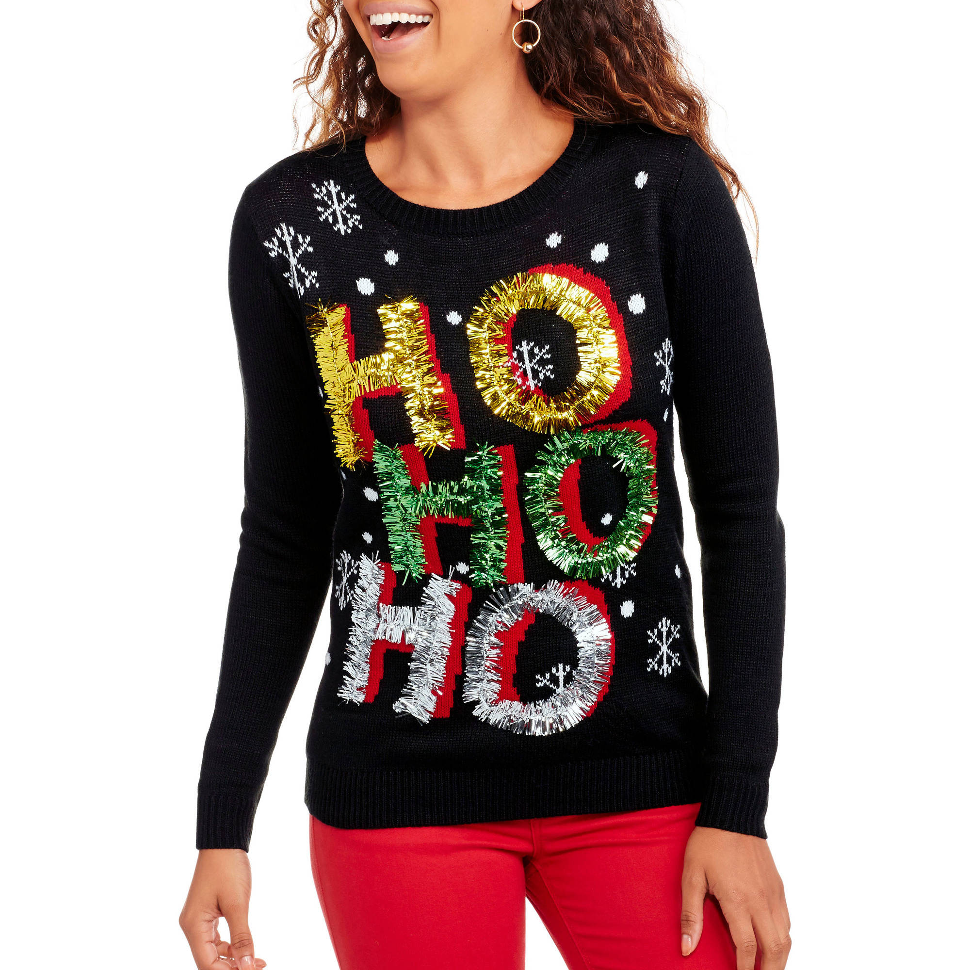 Christmas - No Boundaries Juniors\' Ugly Sweater with 3D Sequins ...