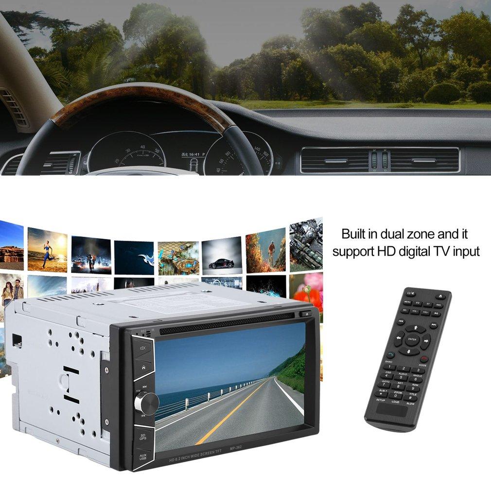 6.2inch Car Multimedia Player Bluetooth GPS Navigation With Rear View Camera