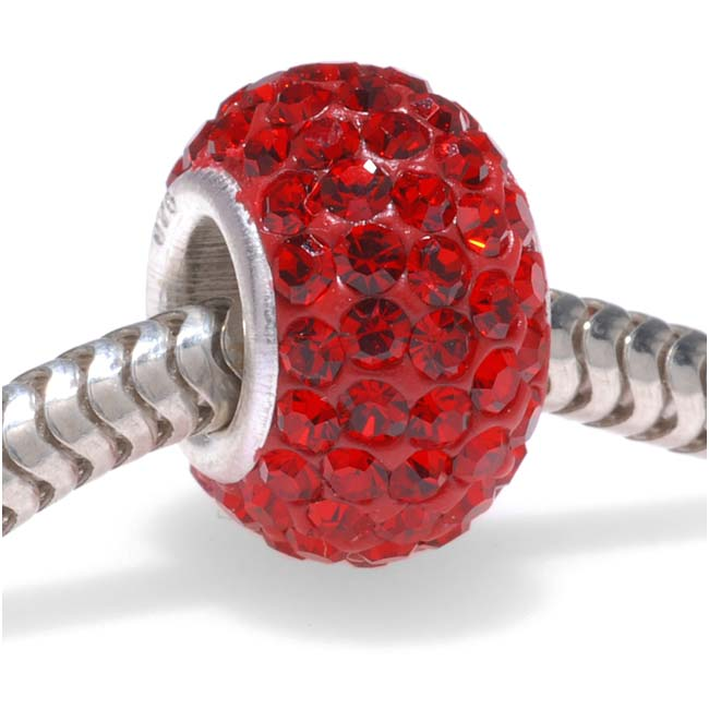 Sterling Silver Crystal Pave Large Hole European Style Bead - 12x7.5mm - Light Siam (1)