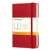 """Moleskine Classic Hard Cover Notebook, 3-1/2"""" x 5-1/2"""", Ruled, 192 Pages (96 Sheets), Red"""