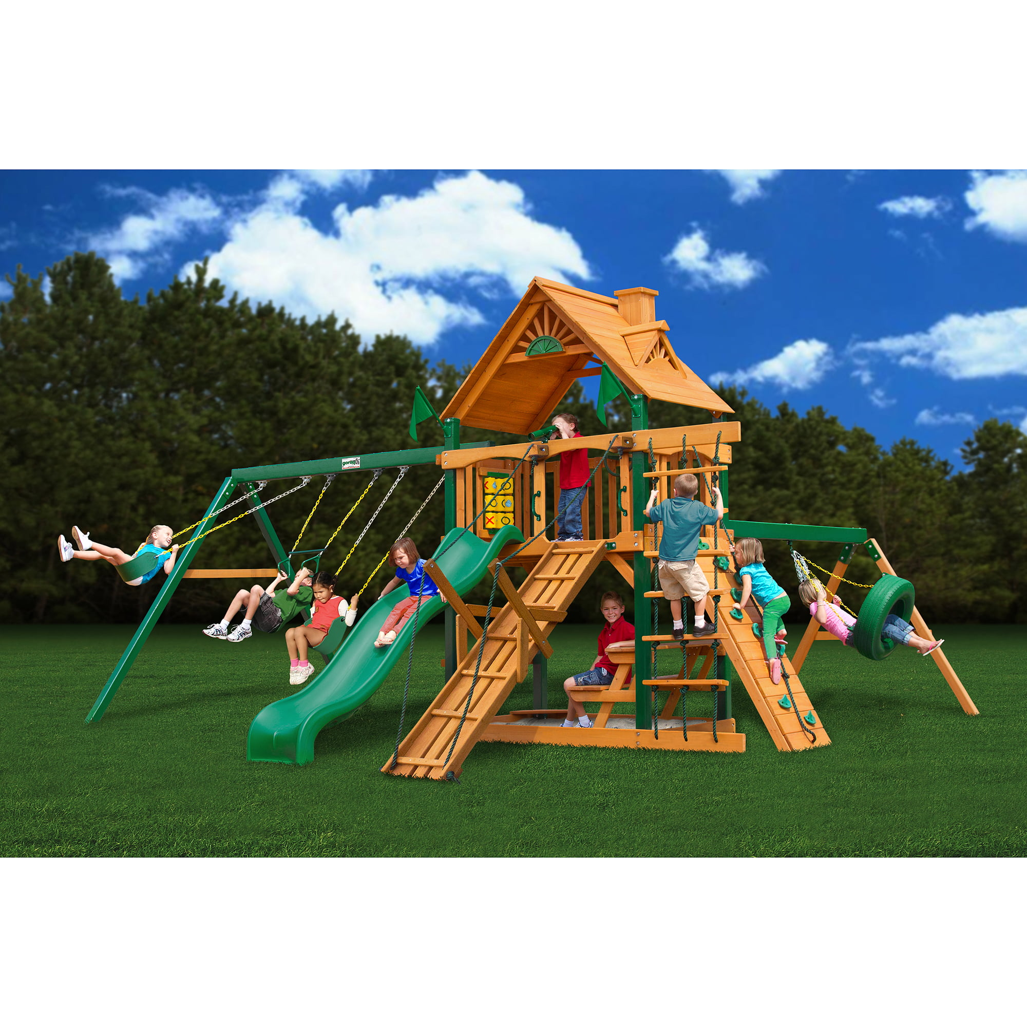 Gorilla Playsets Frontier Cedar Swing Set with Timber Shield Posts by Gorilla Playsets
