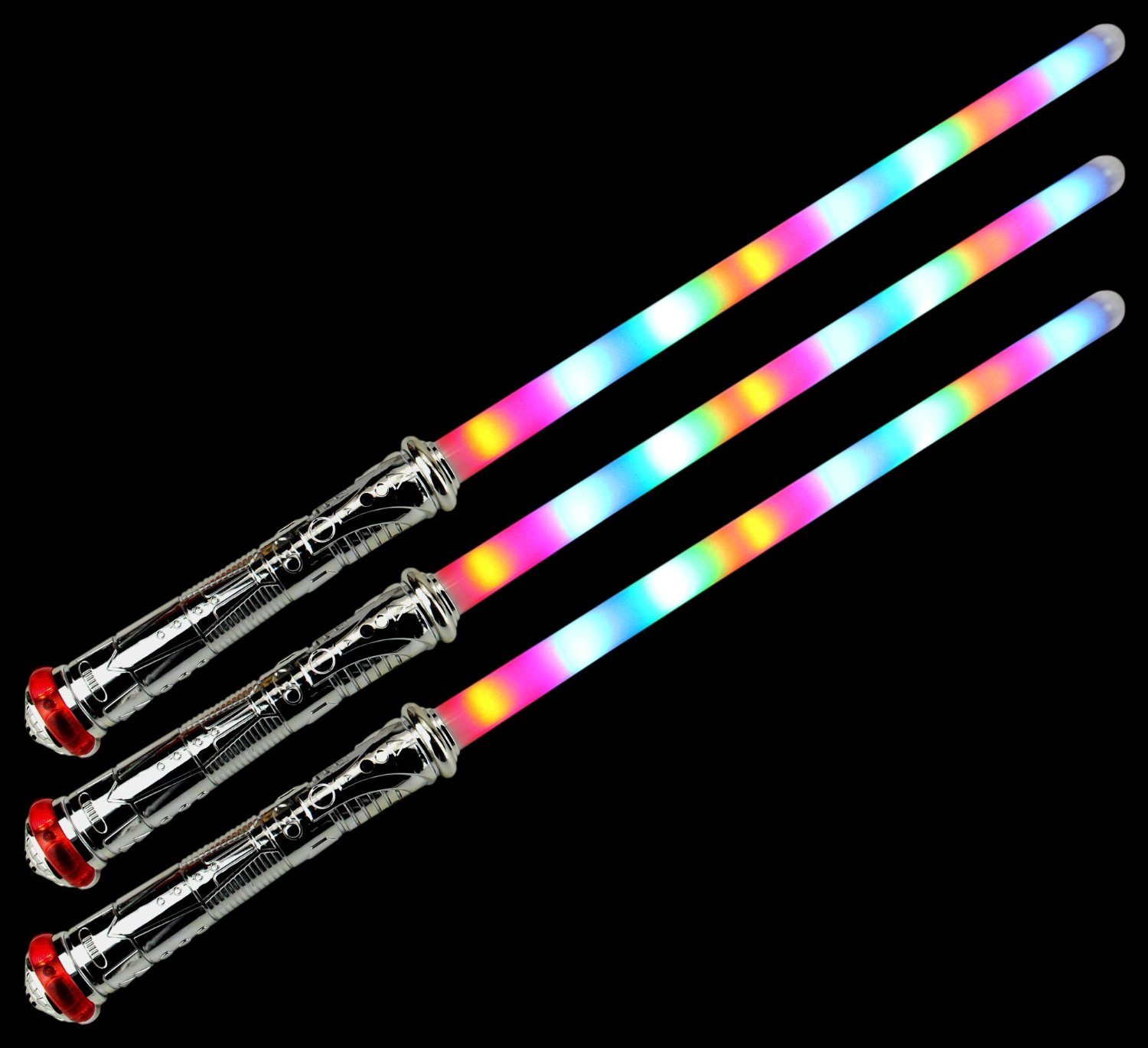 Set of 3 VT Space Captian Flashing LED Light Up & Sound Party Favor Toy Light Sword Sabers (Colors May Vary)