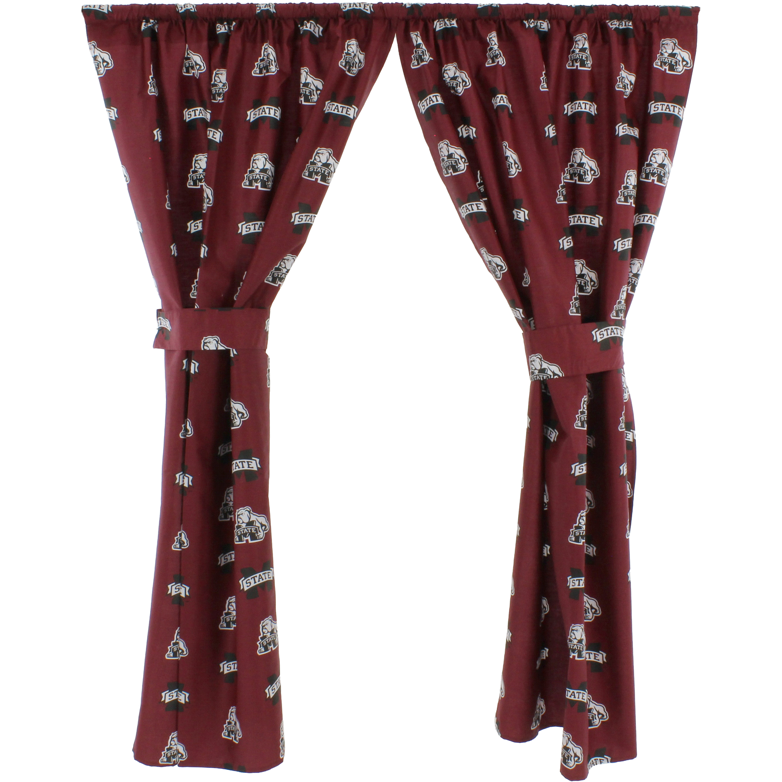 """Mississippi State Bulldogs 100% Cotton, 63"""" Curtain Panels, Set of 2"""