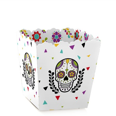 Day Of The Dead - Party Mini Favor Boxes - Sugar Skull or Halloween Party Treat Candy Boxes - Set of 12](Skull Halloween Punch Bowl Set)