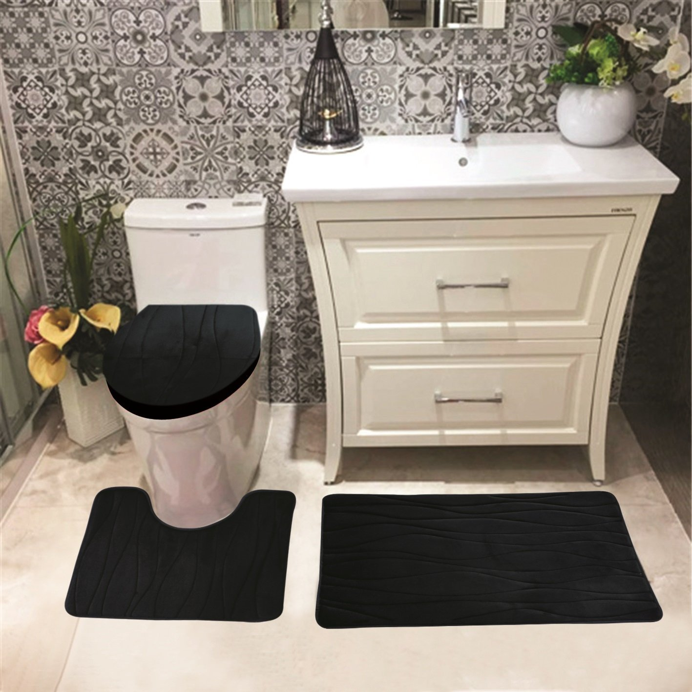 Connie Embossed Foam Plush 3pc Microfiber Bathroom Rug Set, Bath Mat, Contour Rug,... by Kashi Home