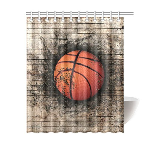 GCKG Brick Wall Basketball Sports Shower Curtain Vintage Polyester Fabric Bathroom Sets With Hooks 60x72 Inches