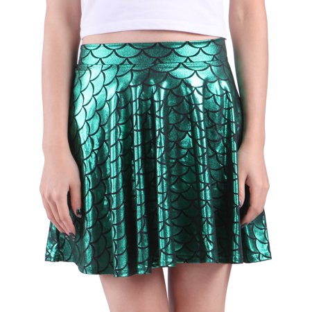 HDE Womens Shiny Mermaid Fish Scale Mini Flared Pleated Skater Skirt (Green, - Green School Girl Skirt