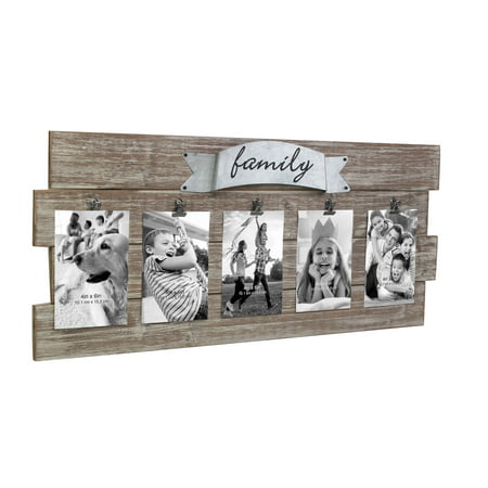 Rustic Wooden Family Collage Photo Frame with Clips