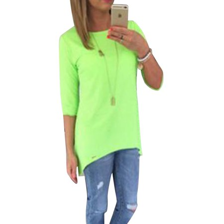 Women 3/4 Long Sleeve Tops Loose Trim Solid Color Round Neck Plus Size T-Shirt Blouse
