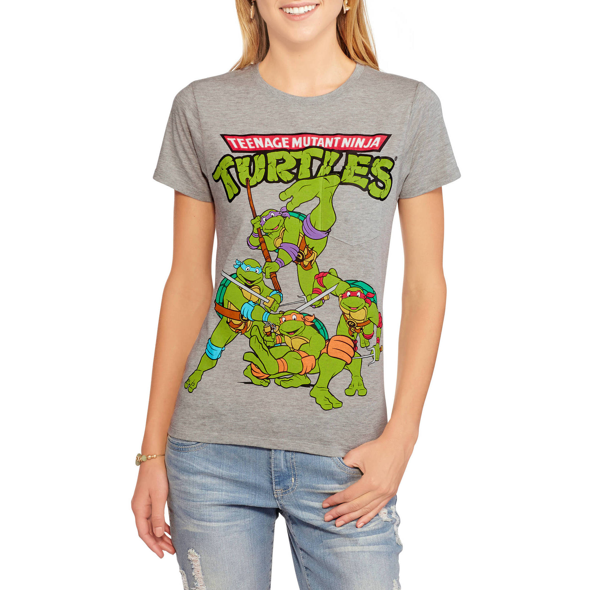 Teenage Mutant Ninja Turtles Juniors  Graphic Over Pocket Tee