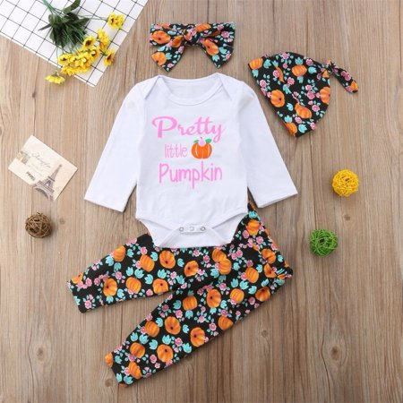 Newborn Infant Baby Boy Girl Bodysuit T-shirt Tops+Pants+Hat Outfits Halloween Clothes Set (Girl Halloween Outfit)