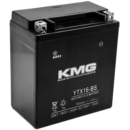 KMG YTX16-BS Battery For Kawasaki VN1700 Voyager, Nomad, Vaquero 2009-2012 Sealed Maintenace Free 12V Battery High Performance SMF OEM Replacement Powersport Motorcycle ATV Snowmobile Watercraft