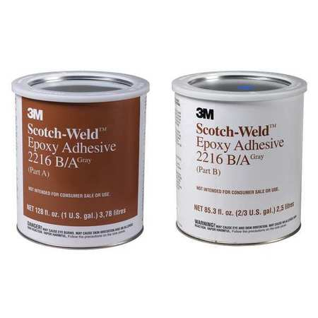 3M 2216 Epoxy Adhesive, Kit, 1 gal, Gray, PK2 by 3M