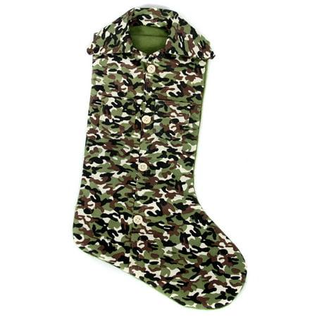 hunters green camo shirt print christmas holiday stocking 13 inch - Camo Christmas Stocking