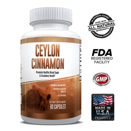 Pure Ceylon Cinnamon Capsules 1200mg – Superfood Antioxidant & Anti-Inflammatory – 100% Natural & Pure from Bark – Supports Healthy Blood Sugar, Heart Health & Digestion – for Men & Women - 1 Month