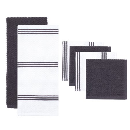 Gray Kitten (Sticky Toffee Cotton Terry Kitchen Towel and Dishcloth Set, Gray, 6)