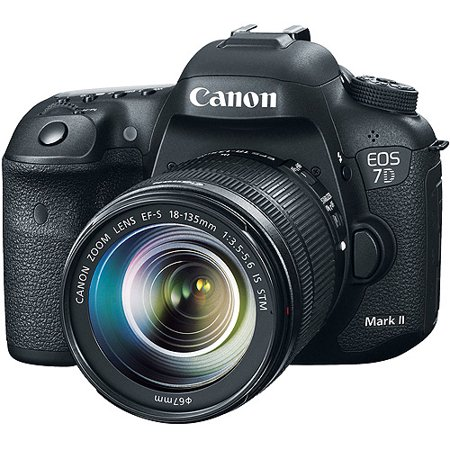 Canon Black EOS 7D Mark II Digital SLR Camera with 20.2 Megapixels and 18-135mm Lens Included