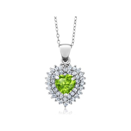 2.00 Ct Heart Shape 7mm Gemstones Sterling Silver Pendant Necklace + 18