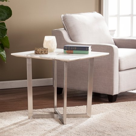 Southern Enterprises Wrexham Faux Marble End Table - Soft Ivory with Gray