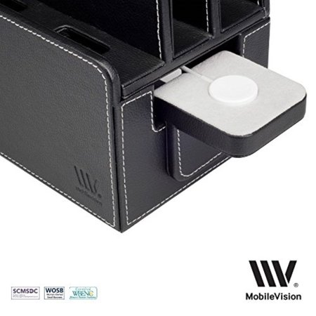 MobileVision Compatible Stand for Apple iWatch Adapter for use with Executive Faux Leather Charging Stations and Multi-Device Organizers