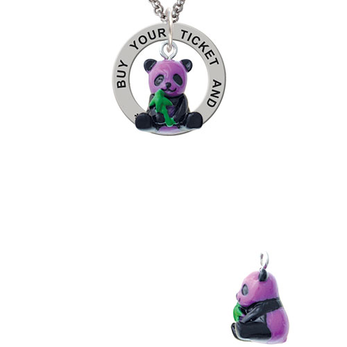 Resin Purple Panda Bear Buy Your Ticket And Ride Affirmation Ring Necklace