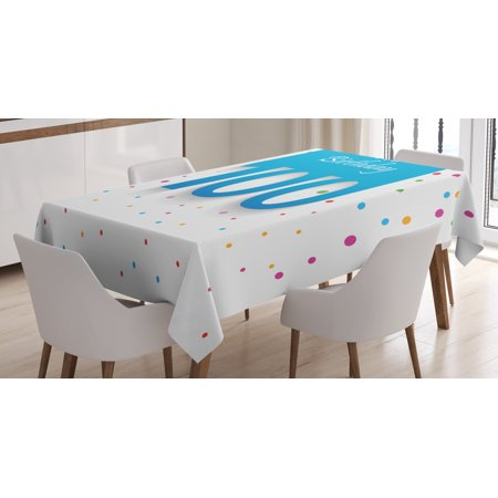 100th Birthday Decorations Tablecloth Party Wish For 100 Years Old With Colorful Dots Image