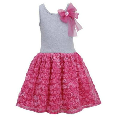 Bonnie Jean Girls Pink Bow Shoulder Bonaz Rosette Mesh Overlay Dress 4T