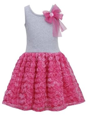 cca1a8a7c8f Product Image Bonnie Jean Girls Pink Bow Shoulder Bonaz Rosette Mesh  Overlay Dress 4T