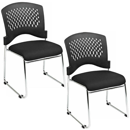 Office Star Pro Line II FreeFlex Guest Chairs, Chrome, Set of 2