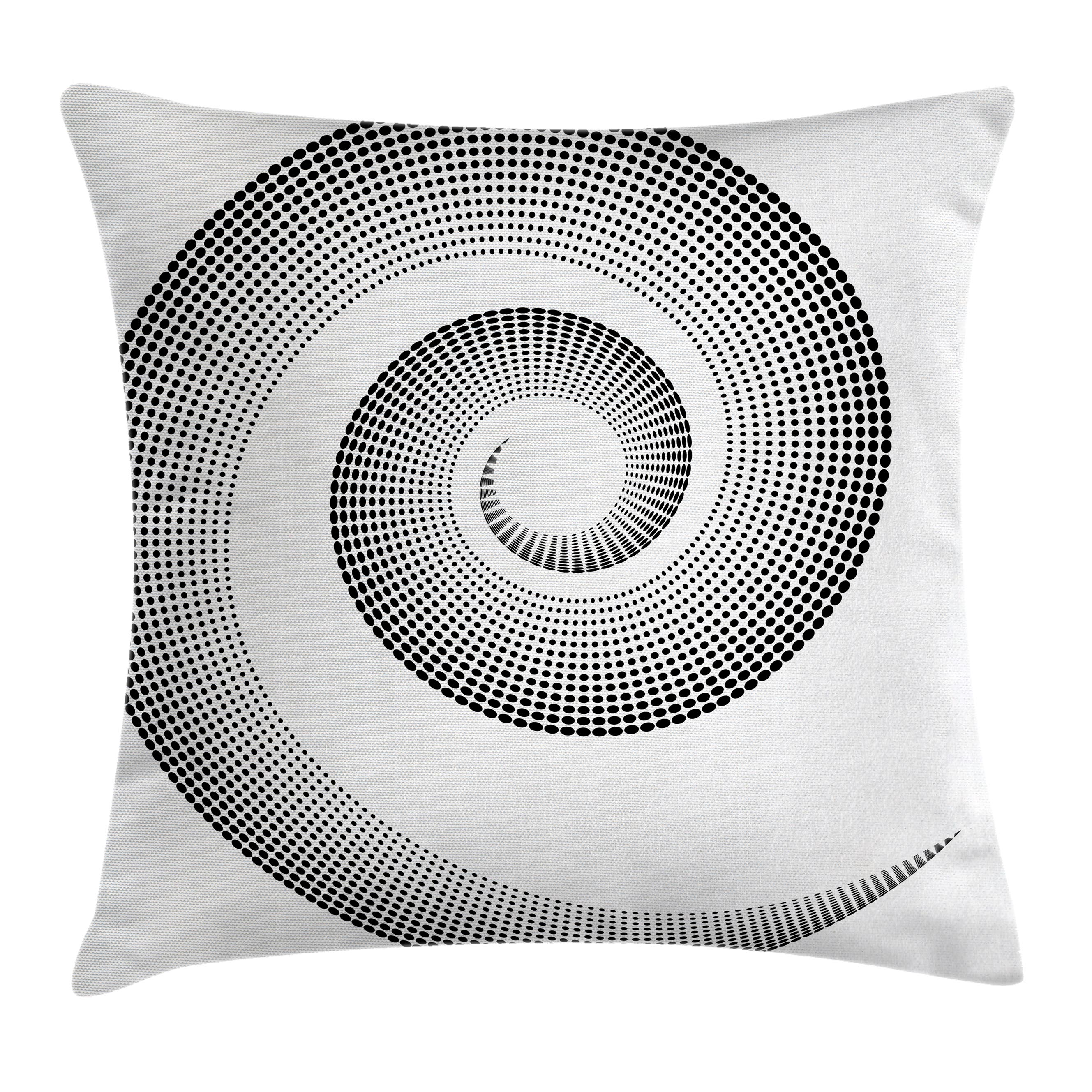 Spires Decor Throw Pillow Cushion Cover, Spiral Dimensional Curve Turns Around an Axis Rotary Parallel to Ring Center Image, Decorative Square Accent Pillow Case, 24 X 24 Inches, Black, by Ambesonne