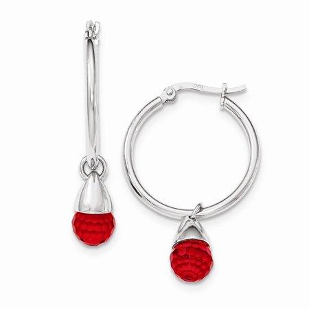 - Sterling Silver Red Swarovski Briolette Hinged Post Hoop Earrings (1.7IN Long x 1.1IN Wide)