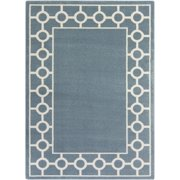 5.25' x 7.25' Ecliptic Gates Of Heaven Slate Blue and Ivory Decorative Area Throw Rug